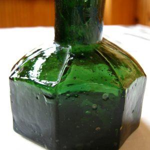 Gamla gamla antika vintage glas åttkantiga Pontius inkwell flaska inkpot