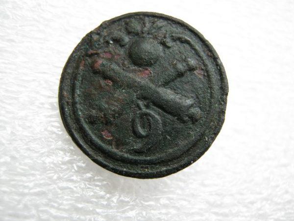 Rare small original button 9th Artillery regiment Napoleonic war 1812