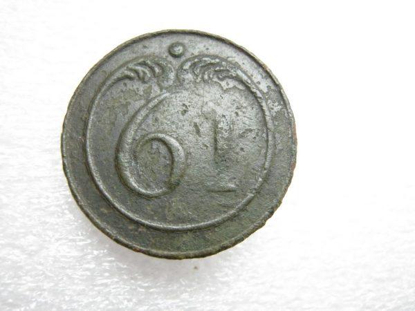 Antique large brass button 61 regiment Napoleon war 1812