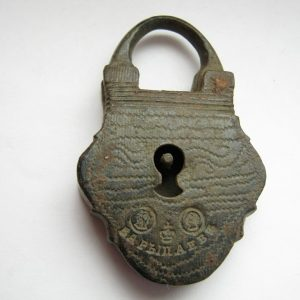 Antique vintage pre-1917 russian small bronze lock