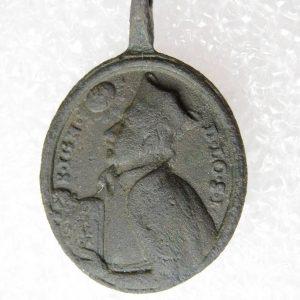 Antik brons medaljong St. IGNATIUS LOYOLA - jesuits, katolicismen, medeltiden, häxjakt, I det här tecknet.
