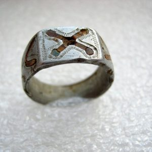 Patriotic handmade aluminum ring of german soldier.Trench Art.