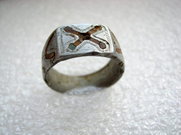 Patriotic handmade aluminum ring of german soldier.Trench Art.