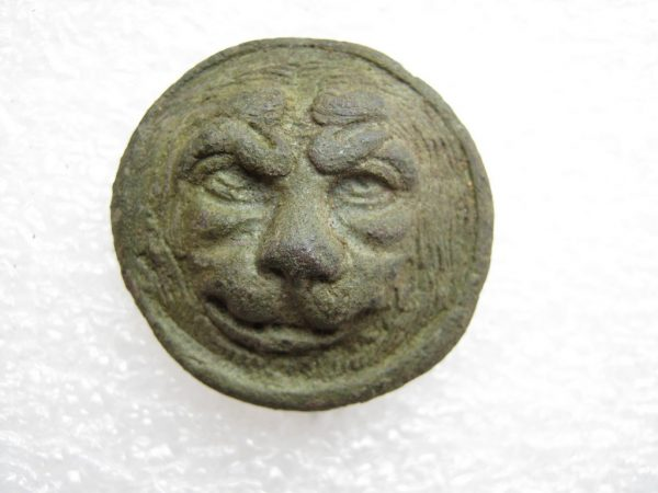 Bronze lion head with fastenings - possible cockade or part of personal uniform decoration. Napoleonic Grand Army in Russian campaign of 1812.