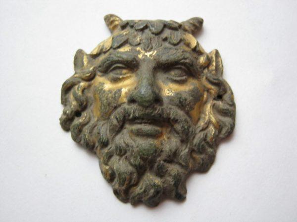 Gilded Satyr Daemon Head vintage buckle