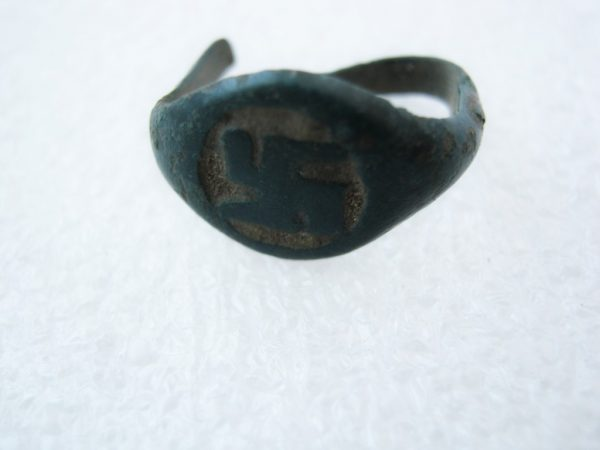 Old Antique pre-Christianity era Pagan Slavonic Ring with Solar Sign Swastika