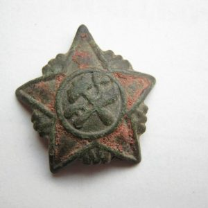 original dug relic hat badge of early Soviet Union Red Army (RKKA)
